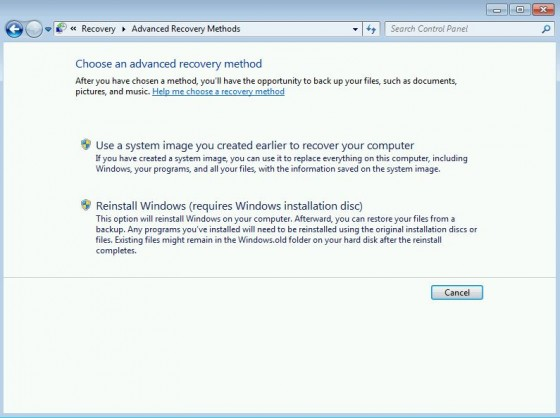 Win7 Advanced Recovery Methods