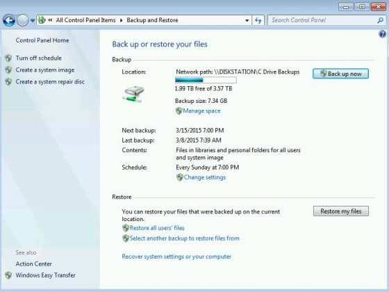 Win7 Backup and Restore recover