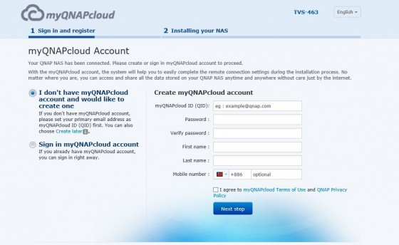 Create myQNAPcloud account