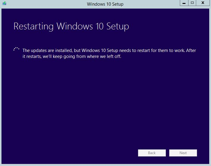 Restarting Windows 10 Setup