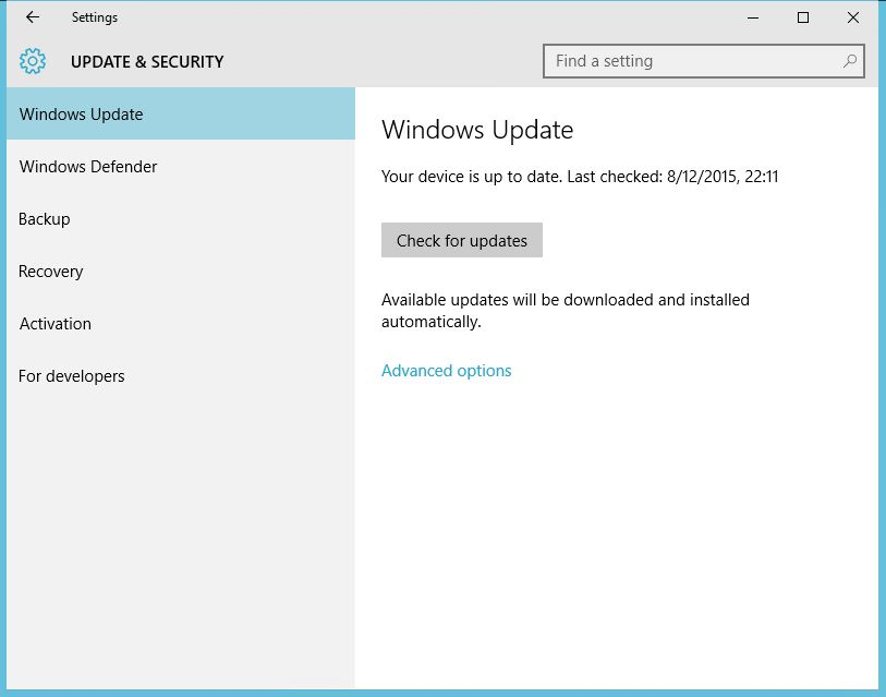 Windows Update - Up to date