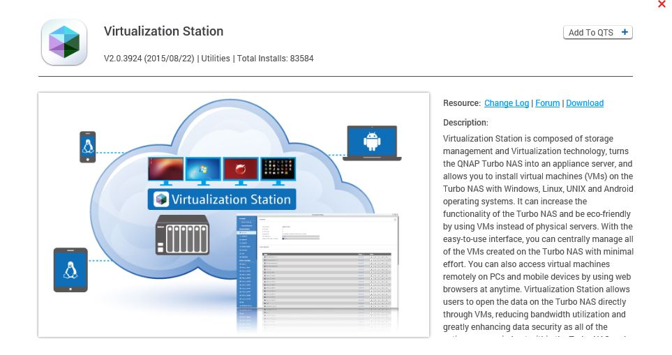 Virtualization Station download window