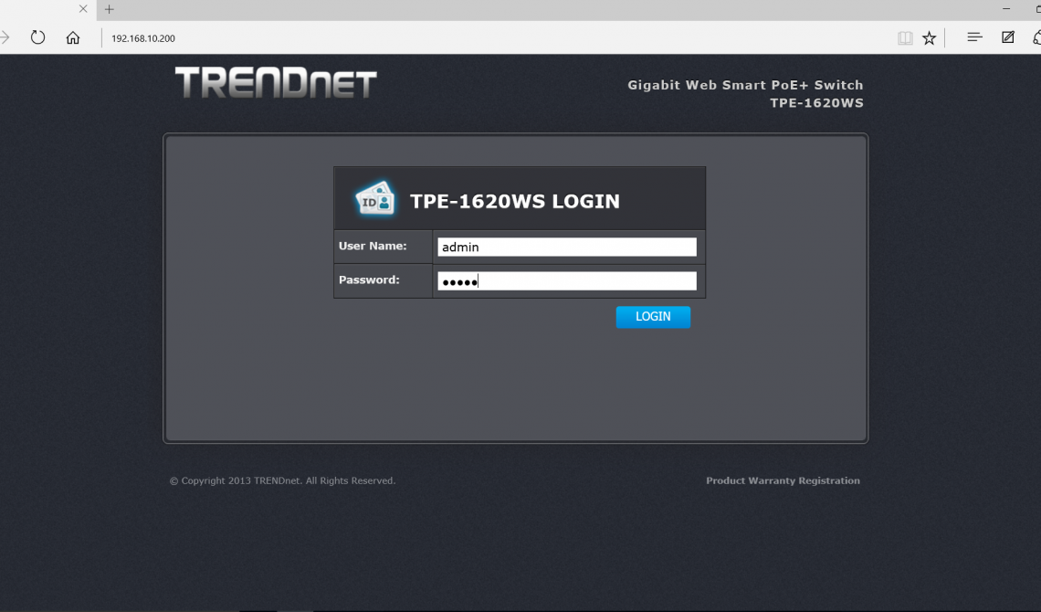Setting Up the Trendnet TPE-1620WS Switch